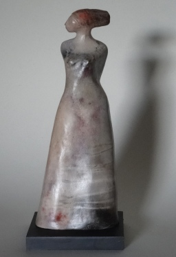 ceramic woman, smokefired c