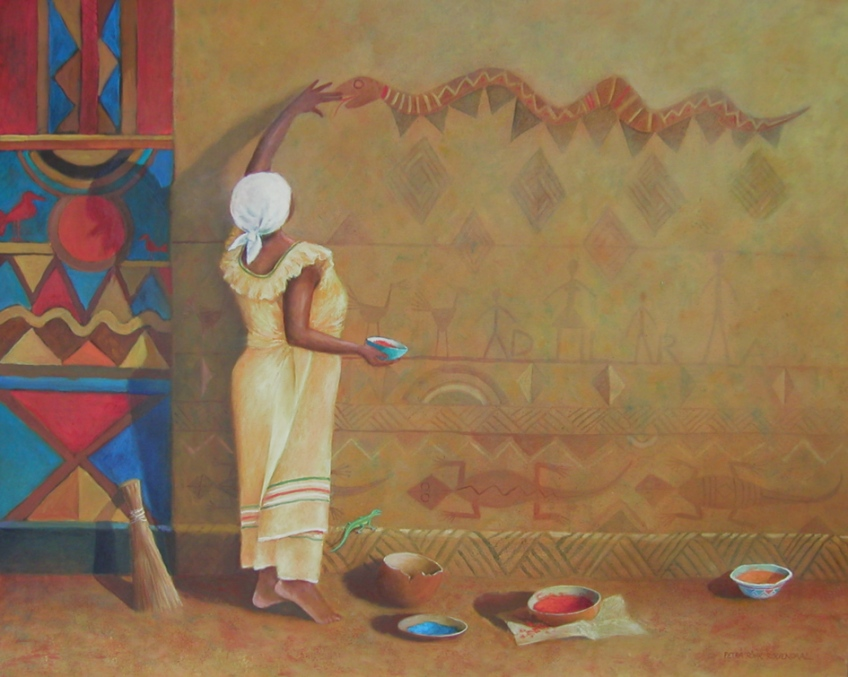 African woman painting snake