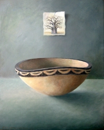 African wooden bowl painting