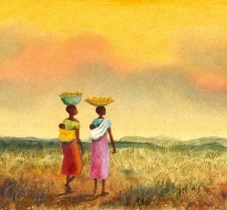painting of the African women with babies