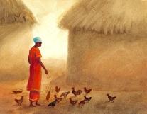 Feeding Chickens (sold)