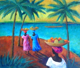 Gambian Fruitsellers on Beach