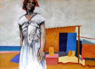 African woman with hut
