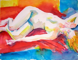 Chris Lying - Watercolour