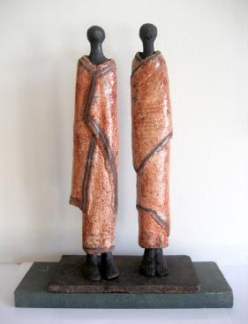 Raku sculpture of two Samburus