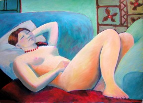 Naomi on Sofa - Oil