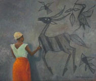 Woman decorating wall