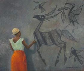 Woman decorating wall