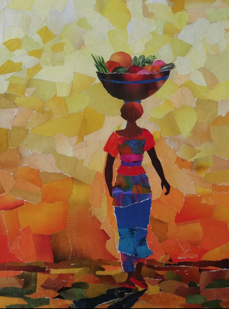 Gambian Fruitseller, collage, 73x65cm