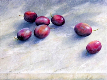 plums, oil painting