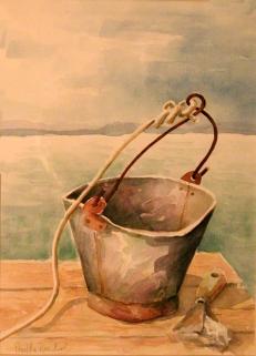 watercolour of bucket in Greece