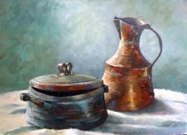 Iranian copper pot painting