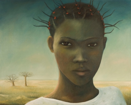African girl painting