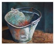 Oil painting of rusty metal bucket in India