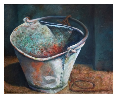 Oil painting of rusty metal bucket in India