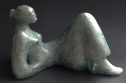 Gaia, woman sculpture in bronze resin