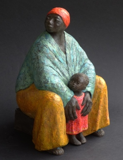 Grandmother and child, painted ceramic