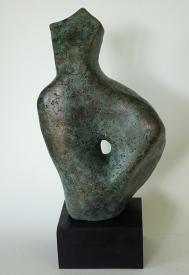 Abstract woman sculpture, bronze resin