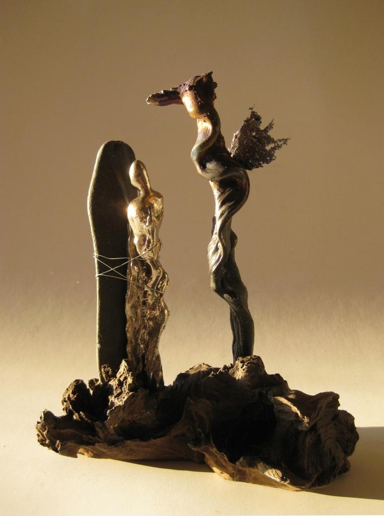 Andromeda, Titanium and wood sculpture