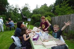 Having fun at the clay table