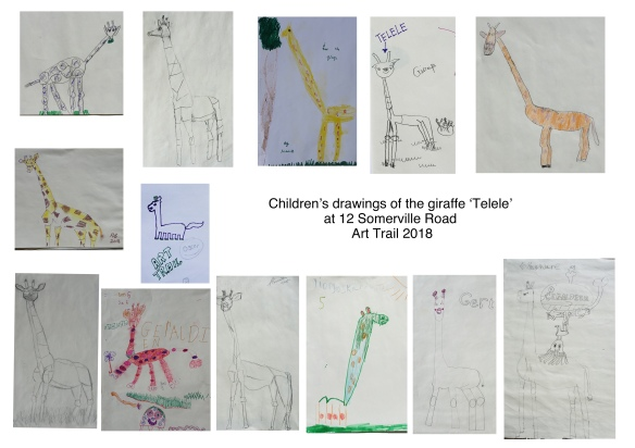 Giraffe drawings by children Art Trail 2018