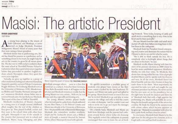 Mokgweetsi Masisi president article tana President Petra's Maruapula student