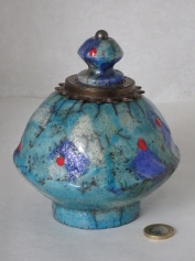 Freecycle Pot, Raku, (sold)