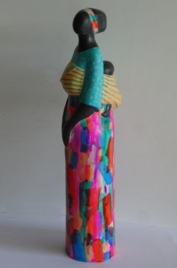 Colourful Dress, ceramic, hand painted