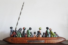 Migrant Boat Raku/weaving shutle