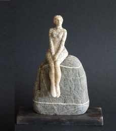Sitting on a Rock, ceramic, Raku