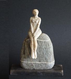 Sitting on a Rock, ceramic, Raku